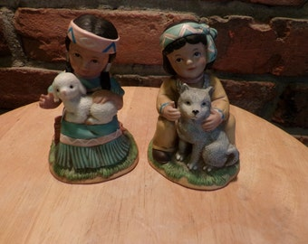 Vintage HOMCO Native American Boy with Wolf Pup Girl with Lamb, Porcelain Figurines, Native American Figurines
