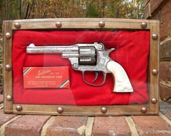 SALE sale SALE.     1950's.   Kilgore Eagle Cap gun with FULL Kilgore cap box in handmade collector's shadowbox