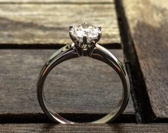 Genuine Crisp Handmade 18k White Gold Solitare .50ct F/SI Diamond Engagement Designer Ring