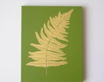 FERN LEAF - Gold Fern Leaf Painting - Gold Leaf Wall Art - Green Fern Painting - Gold Asian Room Decor - Fern Leaf Decor - Fern Print Art