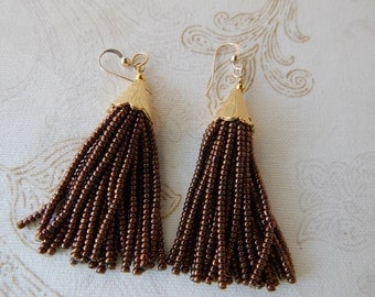 Copper brown beaded tassel earrings, mini tassels, chandelier earrings, statement jewelry, dangle earrings, seed bead, boho style