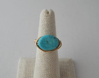 Gold wire wrapped turquoise oval ring, boho style, everyday ring, festival chic jewelry, neutral, trendy jewelry, summer jewelry
