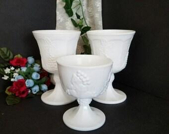Milk Glass Vases, Milk Glass Trio, Vintage Milk Glass Set, Milk Glass Pedistal Vases, Wedding Decor, Home Decor, Gift Giving, Gift Ideas