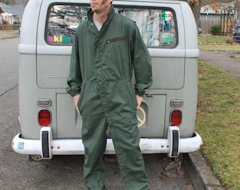 Vintage Coveralls Zip Zuit Green XL