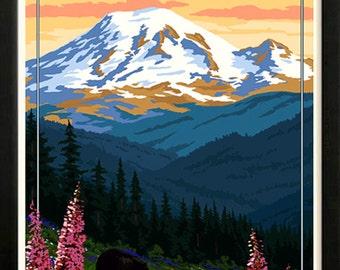 Mount Rainier National Park Retro poster 1930s Custom Framed A+ Quality