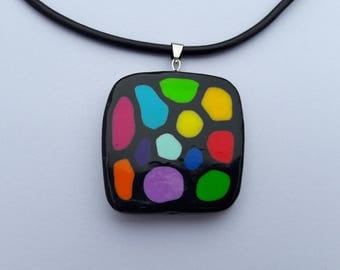 Black and Multicolored Millefiori Pendant
