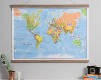 World map poster etsy political world map poster home wall hanging map of the world push gumiabroncs Gallery