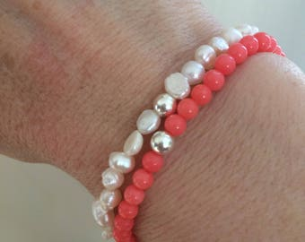 Pink Coral beaded Bracelet Sterling Silver beaded Coral gemstone stretch Bracelet simple tiny bead bracelet salmon pink Coral jewelry gift