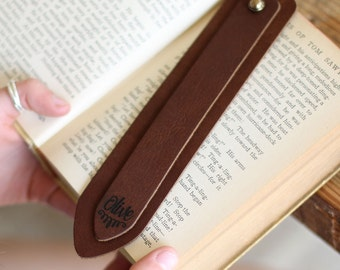 Set of 3 Personalized Fine Leather Double Bookmark book mark