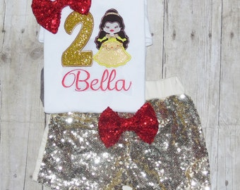 Beauty and the beast birthday outfit, Beauty and the beast outfit, Belle birthday outfit, belle birthday shirt, belle birthday invites