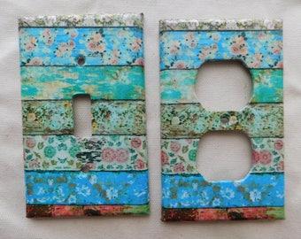Boho Floral Striped Switch Plates