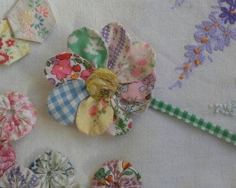 Hand sewn fabric flower brooch
