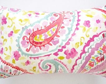 Paisley and Floral Print Lumbar Pillow Cover.decorative pillow cover.pink pillow cover.pink paisley pillow.pink throw pillow.toss pillow