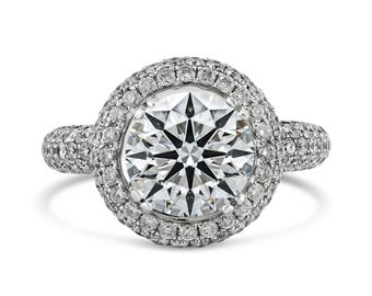 1.80ct Pavé Side Diamonds in 14K White Gold Semi Mount Halo Engagement Ring (NO CENTER STONE)