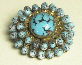 PIN (182) round turquoise faux to 1950's