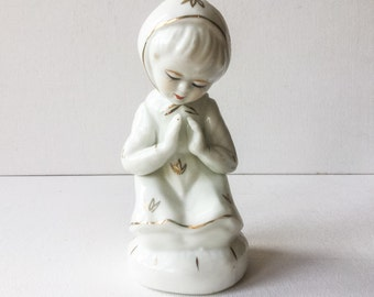 Little Girl Praying Figurine, Vintage Hand Painted White and Gold Ceramic Figure of a Little Girl at Prayer, 01283