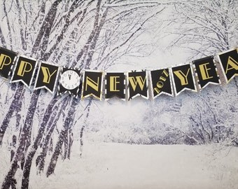 Happy New Year 2018 Banner, New Year's Eve Banner, Happy New Year Sign, 2018 Banner, New Year Banner, Happy New Year Party Decoration