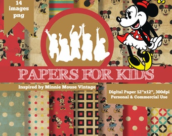 Digital Papers, Minnie Mouse Vintage, Girls, Invitation, Background, Birthday, Clipart, Papers for kids