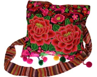 Colorful Hippie Bag, lotus flowers, broad support
