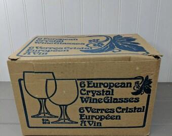 6 Vintage European 9 Oz Crystal Wine Glasses Made in West Germany, 1970's