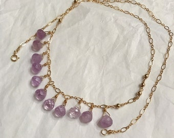 Amethyst 14k gold filled chain necklace handmade with natural amethyst drops and 14k gold filled beads