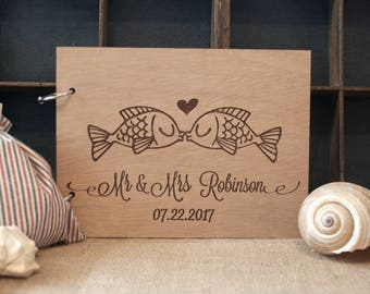 wood wedding guest book / rustic guest book / rustic beach wedding /  destination wedding / nautical decoration / fishes in love guest book