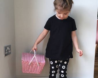 baby harems pants / toddler harems / kids monochrome modern print harem pants / baby leggings / star print / kids drop crotch - skinny leg