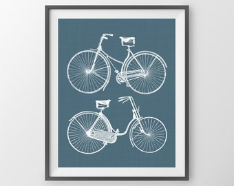 Bicycle Art Print, His and Hers decor, Bike art, bike wall decor, bright modern wall art, bicycle art print
