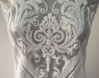 Off White bridal lace fabric in Baroque design white embroidered in sequins on tulle latest fashion trend in bridal