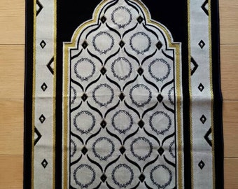 Turkish prayer mat/rug in navy, cream, and gold with traditional design.