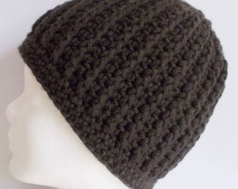 ribbed beanie, hat, wooly hat, darkbrown, crochet