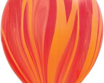 "11"" Red & Orange Marble Balloons: Wedding, Shower, Birthday, Baby, Graduation, Bachelorette, Spring Celebration, Agate, Swirl, 2017, Fire"