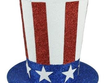 "9""DIA X 8.25""H Glitter Stars & Stripe Top Hat/Wreath Supplies/Patriotic Top Hat/Fourth of July Decor/HJ0014"