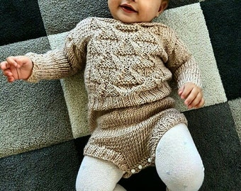 Knitted Baby Clothes , Romper Baby , Trendy Baby Girl Clothes , Baptism Outfit , 1st Birthday Outfit