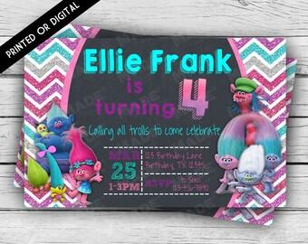 Printed Double-Sided TROLLS BIRTHDAY INVITATION, Princess Poppy, Happy Birthday Invite, Custom Invites, Party, Stationery, Celebration