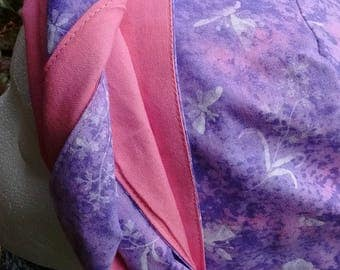 Sale!Purple Butterfly print / Pink Reversible Chemo Hat with matching Sash