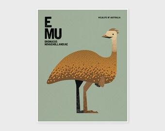 EMU, Nursery Art Print, Kids Poster, Wildlife of Australia, Nursery Wall Art, Nursery Decor, Wall Art Prints, Australian Animal Illustration