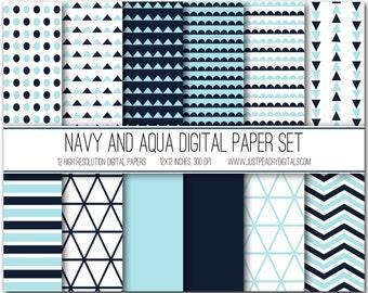 navy and aqua modern digital scrapbook paper with geometric patterns