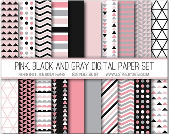 pink, gray and black modern digital scrapbook paper with geometric patterns