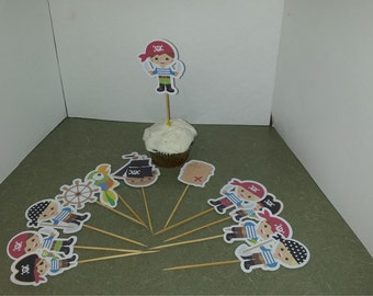 Pirate  Cake or Cupcake Toppers Set of 12... Choice of one side or two sided pick