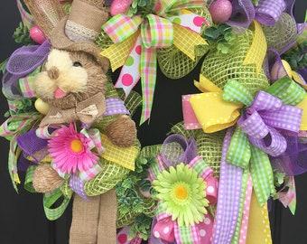 Easter Wreath, Easter Bunny Wreath, Spring Deco Mesh Wreath, Front Door Wreath, Sassy Doors Wreath