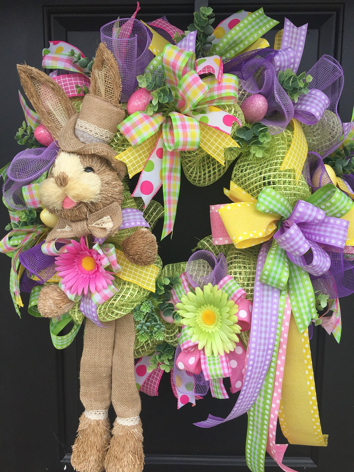 Easter Wreath, Easter Bunny Wreath, Spring Deco Mesh Wreath, Front ...