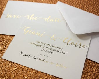 Luxury gold foil on silk white wedding save the date cards with envelopes