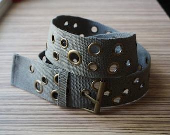 Khaki woven cotton canvas belts, golden brass buckle, various sizes hollow rivets, medium size, teens' vintage fashion accessories