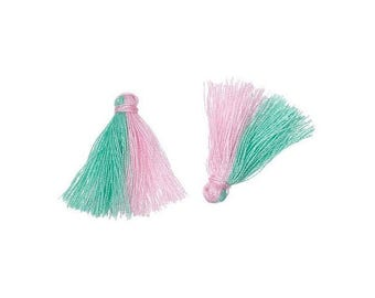 20 mini PomPoms two-tone green and Rose 25mm
