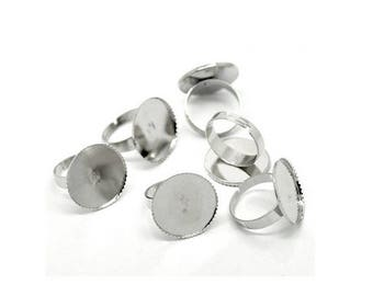 20 media rings silver Platinum Plateau Cabochon 20mm