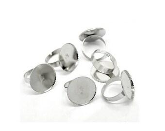 20 media rings silver Platinum Plateau Cabochon 20mm