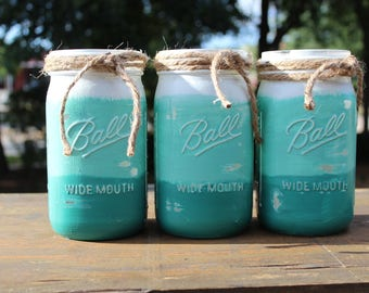 Beach themed centerpieces Teal mason jars Beach bathroom decor Coastal decor Beach Ombre painted mason jars Beach chic Mason jars