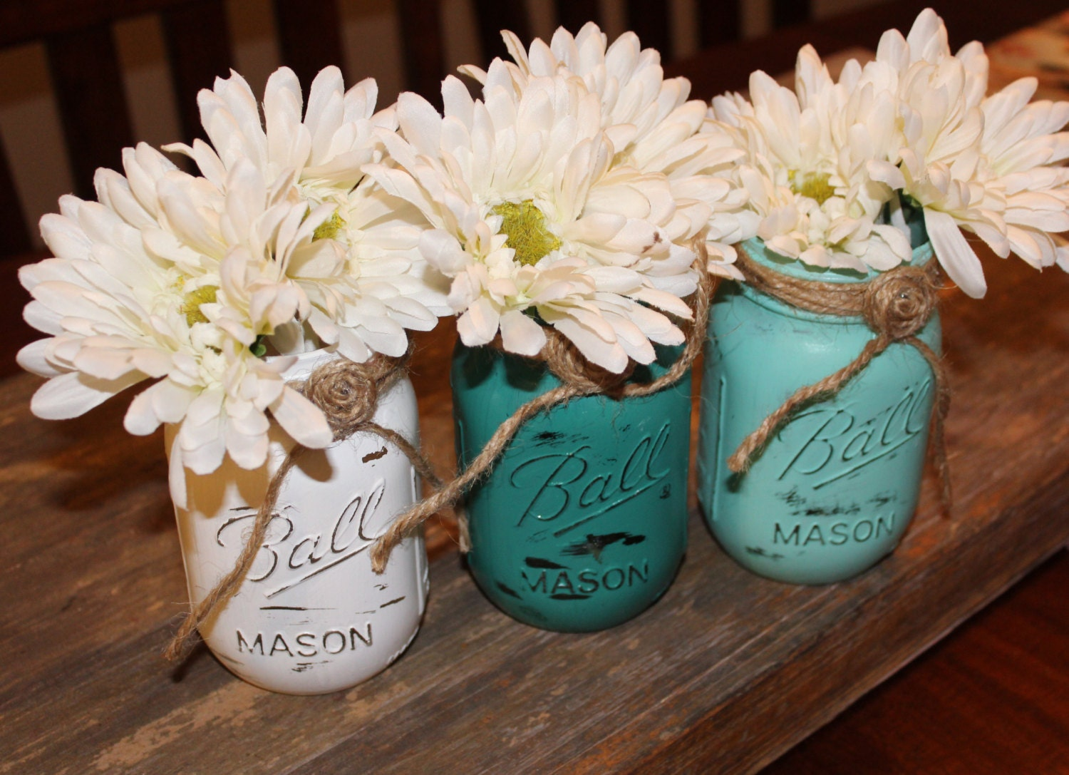 Rustic centerpieces mason jar table centerpiece teal country
