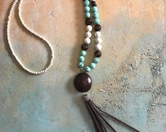 Turquoise and Brown Long Beaded Tassel Necklace, Boho Style Necklace, Gypsy Style Jewelry, Leather Tassel Necklace, Bohemian Beaded Necklace